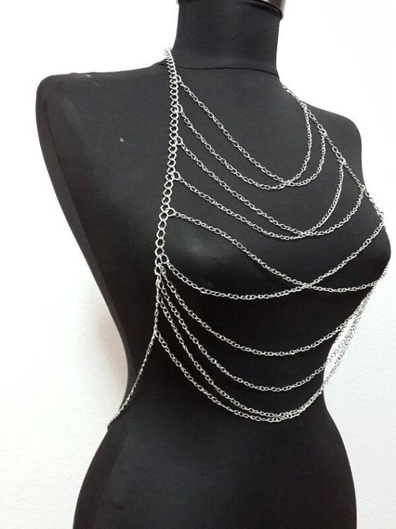 silver body chain Necklace Body Chain body necklace by MukoShop