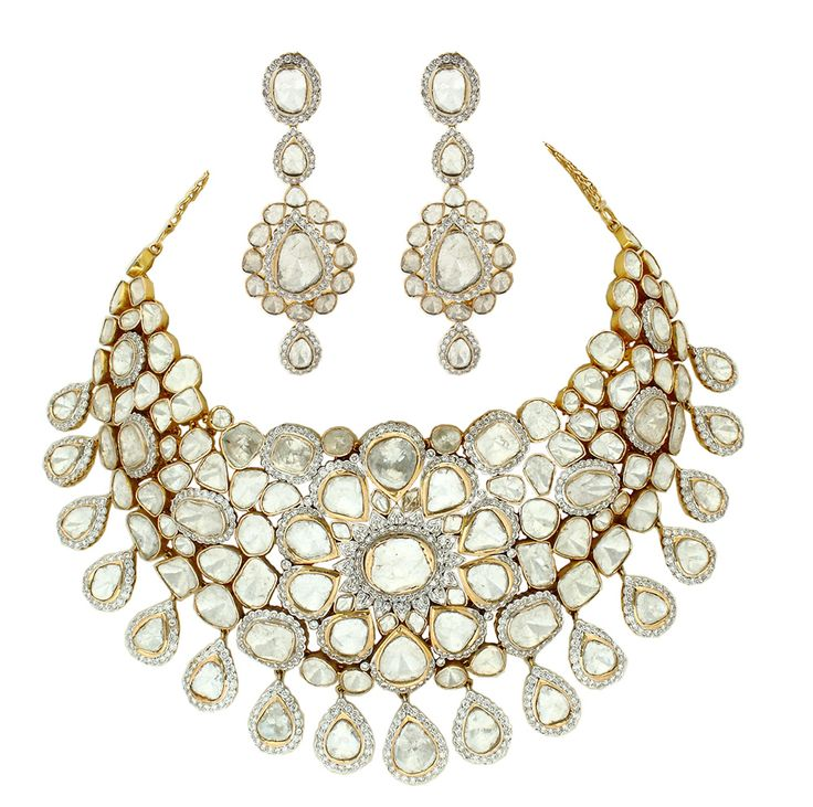 Polki necklace by Anmol Jewellers.