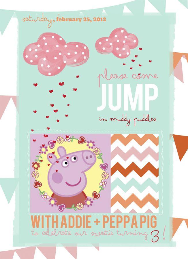 peppa pig invite: Pigs Invitations, Peppa Pigs Parties Invitations, Birthday Party Invitations, Winslow Photography, 3Rd Birthday, Parties Ideas, Pigs Birthday, Girls Birthday, Birthday Parties Invitations