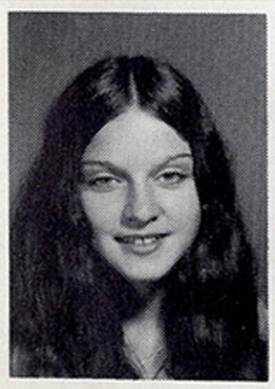 Madonna's 1971-1972 yearbook photo from West Junior High School in Rochester Hills, Michigan