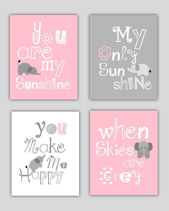 Elephant Art, You are my sunshine Pink and Gray Art Prints, 4-8x10 prints, Matches Boy or Girl Nursery, nursery, or playroom