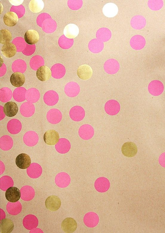 pink and gold polka dots--could be a fun gift wrap idea!