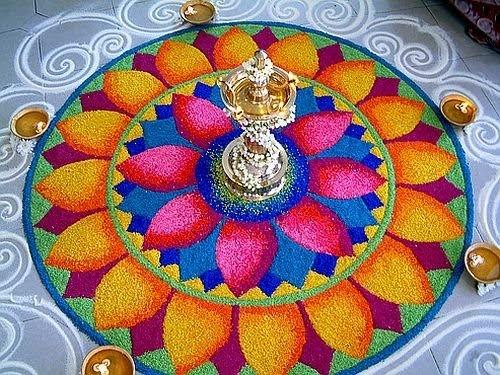 Indian Rangoli Design Made Using Colored Rice