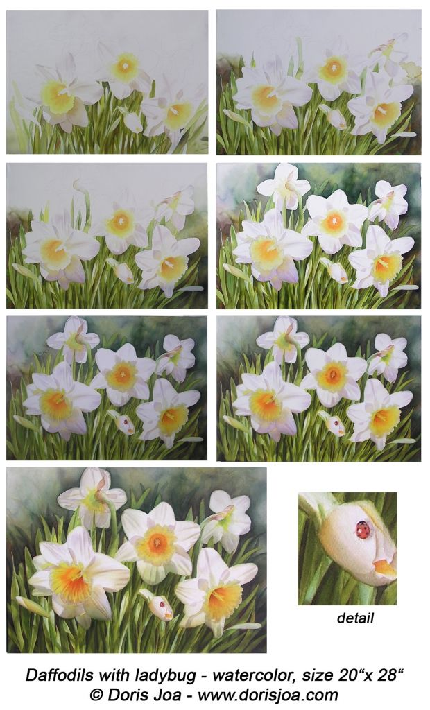 How to paint daffodils - in oil or watercolor - paint white daffodils with glowing yellow trumpet and leaves and buds. Step-by-Step- Demonstration and all colours explained.