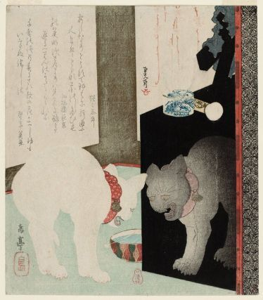 White Cat Hissing at Its Reflection in a Black Lacquer Mirror Stand 鏡台に自分の姿を見て怒る猫 Japanese, Edo period, late 1820s–early 1830s Artist Yashima Gakutei, Japanese, 1786?–1868