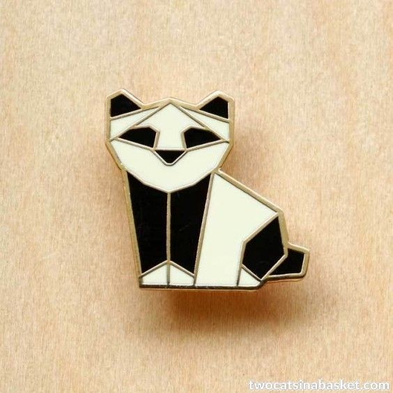 Broche Origami Panda - TWO CATS IN A BASKET