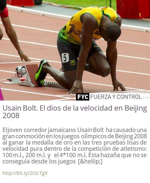Usain Bolt. El dios de la velocidad en Beijing 2008 El joven corredor jamaicano Usain Bolt ha causado una gran conmoción en los juegos olímpicos de Beijing 2008 al ganar la medalla de oro en las tres pruebas lisas de velocidad pura dentro de la competición de atletismo: 100 m.l. 200 m.l. y el 4100 m.l. Esta hazaña que no se conseguía desde los juegos []