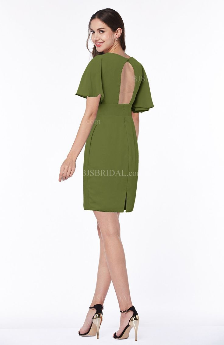 Best 25 olive green bridesmaid dresses ideas only on pinterest olive green bridesmaid dress modest sheath zip up chiffon short plus size ombrellifo Gallery
