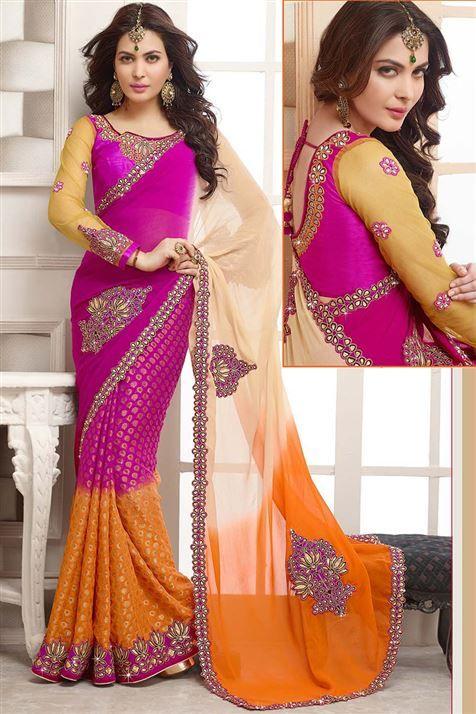 Magenta, Cream, Orange Georgette Designer party wear saree