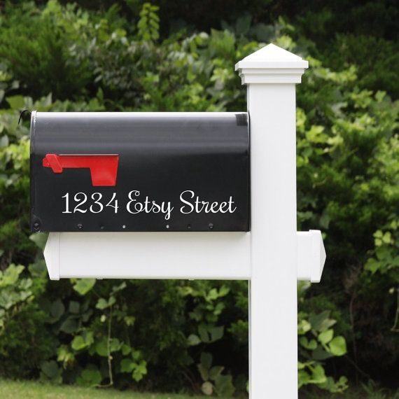 Mailbox Address Vinyl Decal Mailbox Numbers Address Vinyl Lettering Decal Housewares Personalized Mailbox  Mailbox Address Decal This listing is for TWO matching decals. Please specify address when placing order  Size is approximately 10 inches wide x 2 high (depending on length of address).. If you would like a specific size, please let me know & I will be glad to customize..  Please specify color when ordering. Available colors: See Color Chart  If you would like a different color, other…