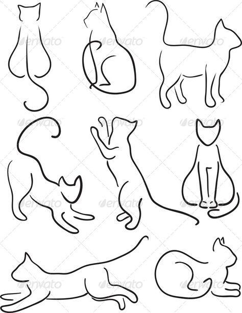 cat jumping drawing   art, black, cat, clip, collection, contour, design…