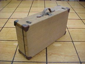 old woven fiber suitcases for sale