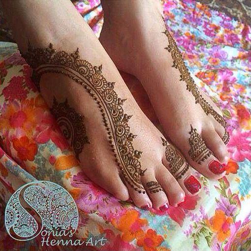 Stunning Simple Feet #Henna By Sonia's Henna Art.