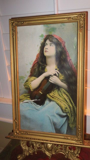 Antique Victorian Gypsy Woman Print Long Hair Amp Violin