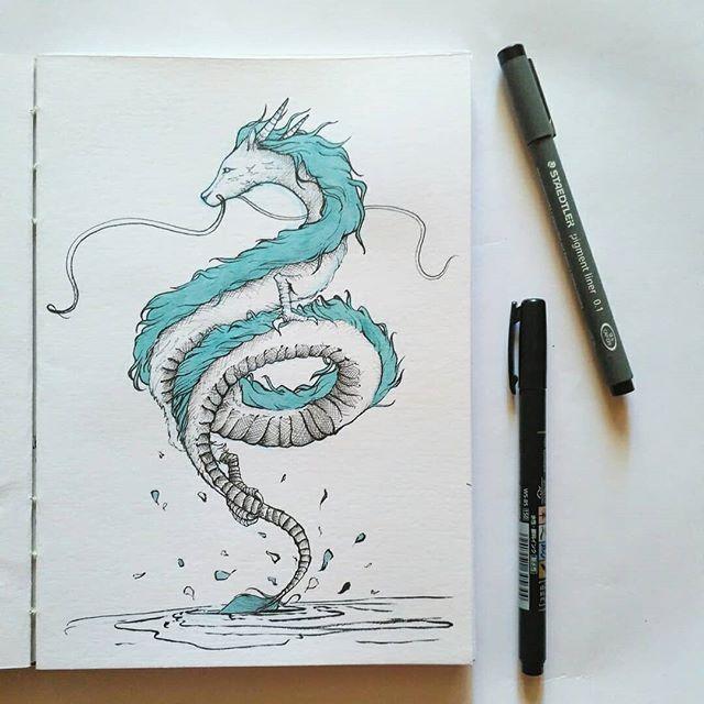 Inktober 2019 Drawing Of Haku From Spirited Away By Patricia Pedroso Dragon Kohaku River Studio Ghibli Movie R Ghibli Art Dragon Drawing Studio Ghibli Art
