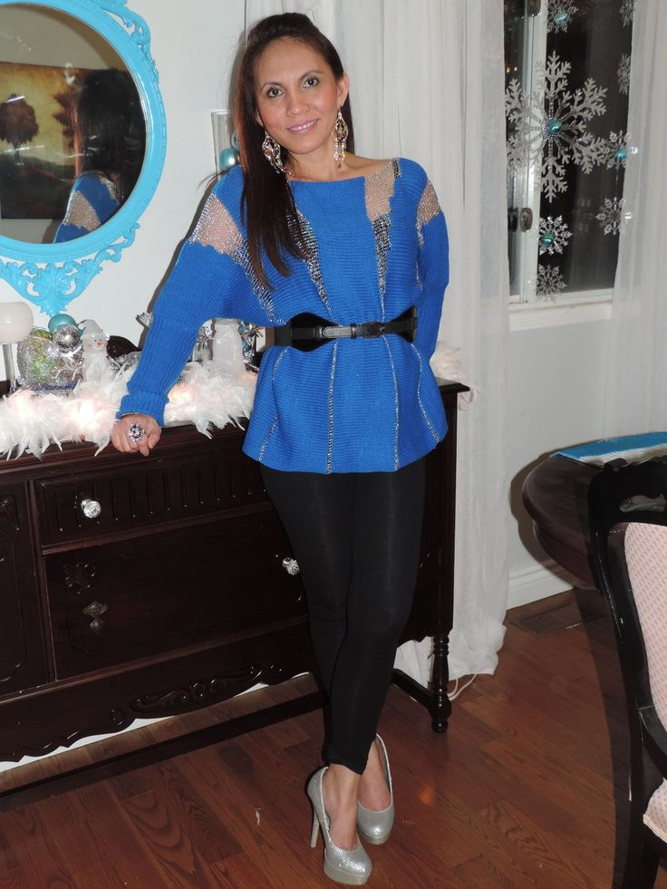 Royal blouse with black leggings