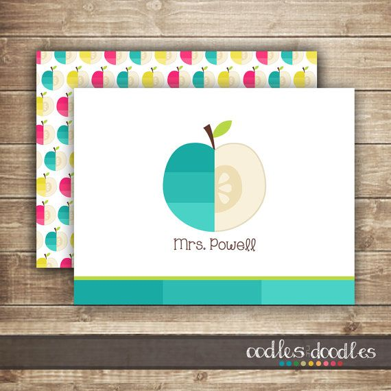 Teacher Personalized Stationery / Apple Note Cards | Printed or Printable | OandD.etsy.com