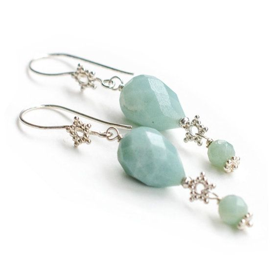Silver Baby Blue Amazonite Snowflake Earrings #Etsy #JevaJewels #handmadejewelry #swissmade