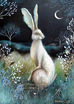 The Hare is a symbol of balance, new life, creativity, fertility and eternity. The symbol of the Hare is connected to Ostara- Spring, the Dawn, the Moon, Sacred Fire, the Egg, the Circle, Marriage, Androgyny, Madness, Genius and Inspiration.