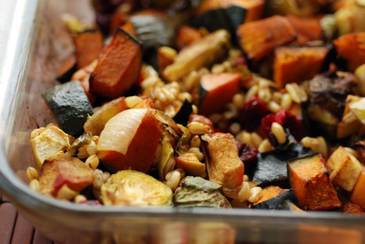 Roasted Balsamic Curry Fall Vegetables and Cranberries with Kamut ® brand khorasan wheat