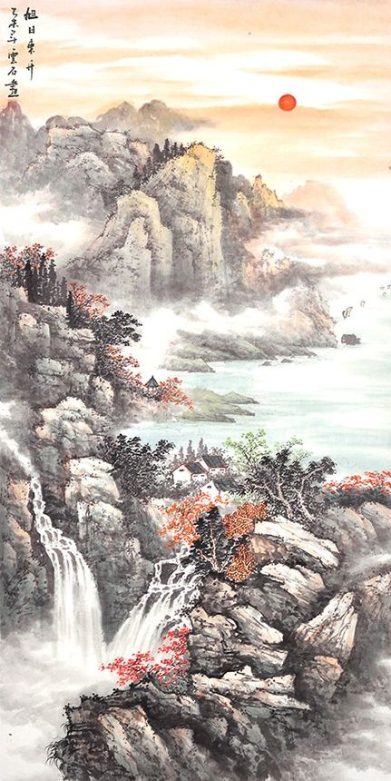 Mountains painting Artworks drawing Art Traditional Chinese Scroll Landscape Painting - US $512.00