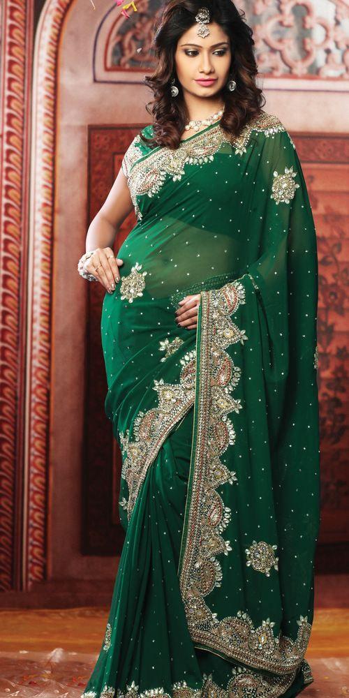 Fashion Sareer green with white border