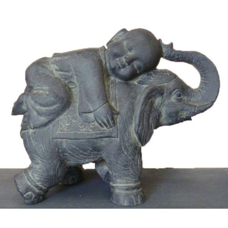 Hi Line Gift Ltd Buddha Child On Elephant Garden Statue 400 x 300