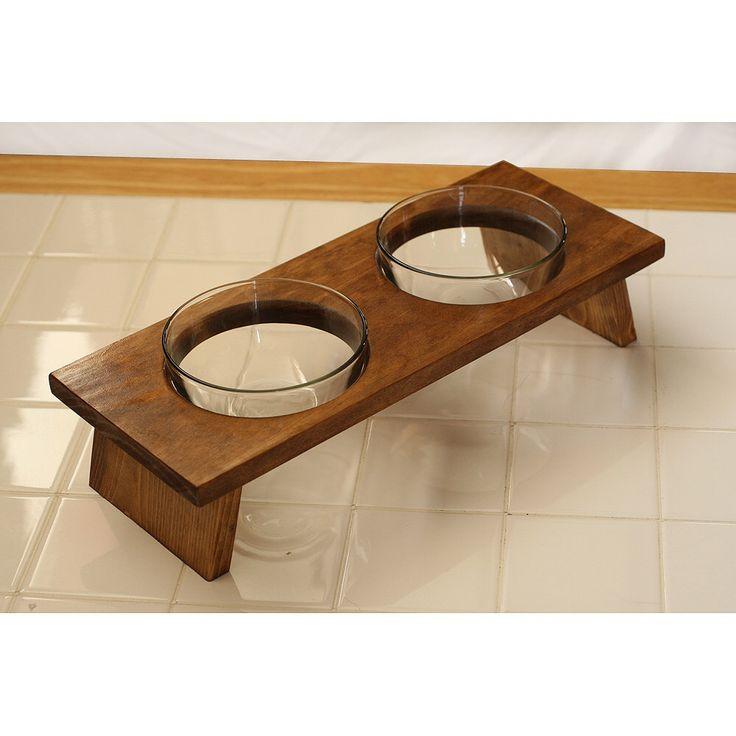 Designer dog or cat food bowl set pet food dish double feeder elevated by KMGstore on Etsy https://www.etsy.com/listing/188417060/designer-dog-or-cat-food-bowl-set-pet