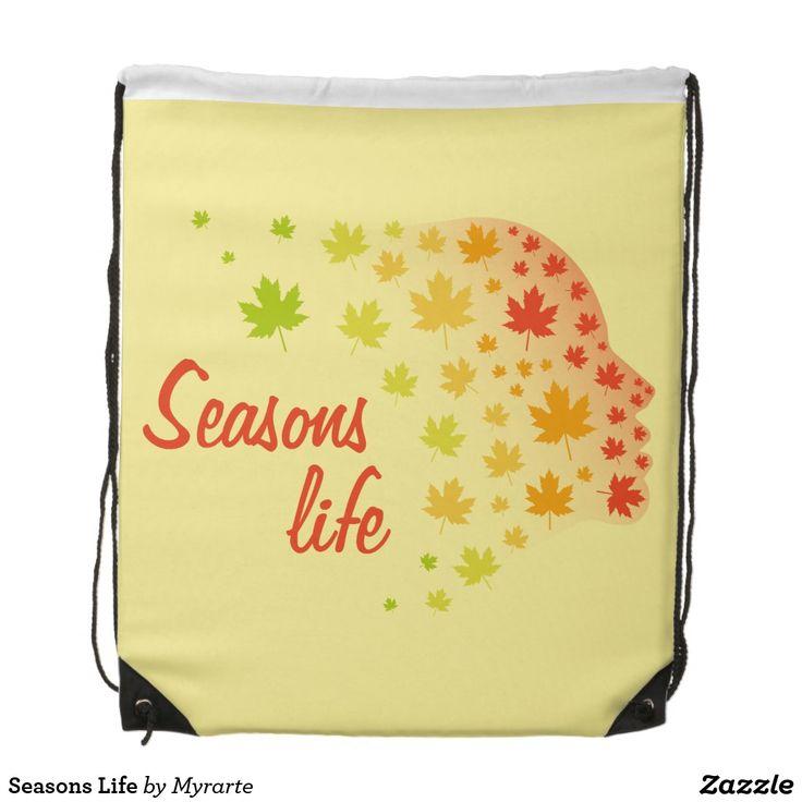 Seasons Life Drawstring Bag. Producto disponible en tienda Zazzle. Accesorios, moda. Product available in Zazzle store. Fashion Accessories. Regalos, Gifts. #mochila #backpack