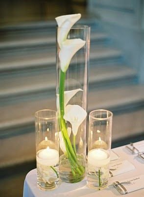 Calla lily and candle centerpieces