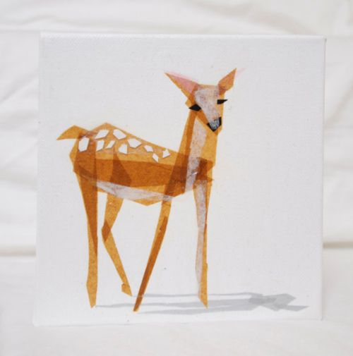 Bambi: Paper Collages, Edie Fawn, Art, Illustration, Tissue Paper, Animal, Deer