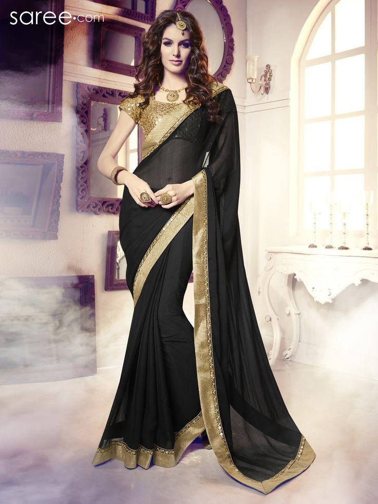 BLACK CHIFFON SAREE WITH EMBROIDERY WORK  #Saree #Chiffonsarees #Sari #Indianfashion #fashionIndia #sareelover #georgettesaree #IndianWear #Ethnicwear #IndianEthnicwear