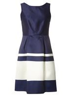 Womens **Luxe Navy Stripe Prom Dress- Blue