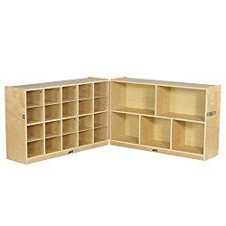 ECR4Kids Birch Fold & Lock Storage Cabinet with 5 Cubbies/15 Trays, 30″H, Natural