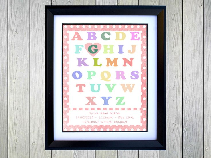 Alphabet Print - Personalised Alphabeth Print for baby girl. Personalised with Baby Name, Date of Birth, Time of Birth, Weight and Hospital