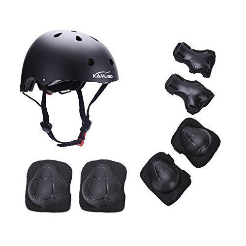 KAMUGO Kids Youth Adjustable Comfortable Helmet with Sports Protective Gear Set Knee/Elbow/Wrist Pads for Cycling Skateboarding Skating Rollerblading and Other Extreme Sports Activities. #KAMUGO #Kids #Youth #Adjustable #Comfortable #Helmet #with #Sports #Protective #Gear #Knee/Elbow/Wrist #Pads #Cycling #Skateboarding #Skating #Rollerblading #Other #Extreme #Activities