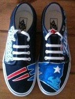 Custom Hand Painted Shoes  New England Patriots by suttongear, $99.00