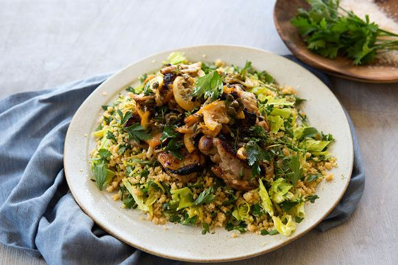 Lemon and Caper Oven Baked Chicken Thighs with Lemon and Rosemary Cous Cous - Maggie Beer