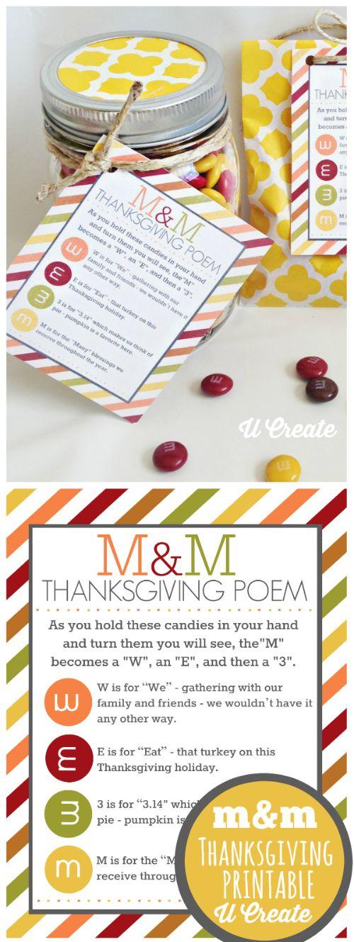 Thanksgiving M&M Poem - free printable