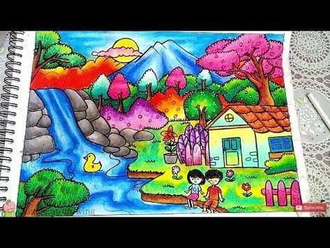 Cara Menggambar Dan Mewarnai Pemandangan Air Terjun Dan Rumah Dengan
