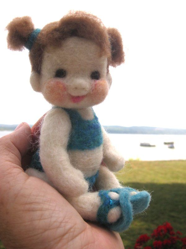 Needle Felted Beach Babe doll. Barb Soet