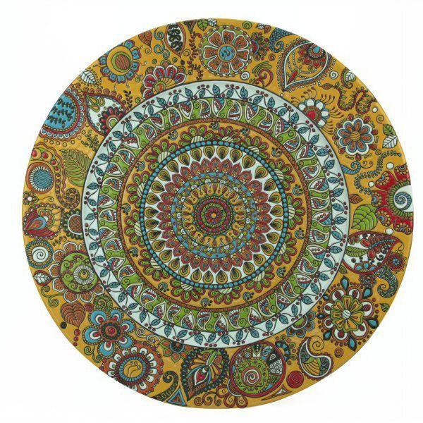 Piatto da muro in ceramica, diametro 70 cm, decorato con la tecnica della cuerda seca.