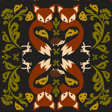 Ornate Fox Black fabric by boredinc on Spoonflower - custom fabric