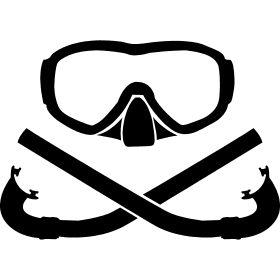 Taucherbrille mit gekreuzten Schnorchel - Ein Taucher Set bestehend aus Taucherbrille mit zwei gekreuzten Schnorchel wie bei Piraten.