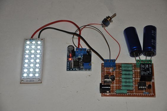 Patrick AKA EngineeringShock built a flashlight that uses no batteries, and instead charges up a bunch of caps from a wall wart.