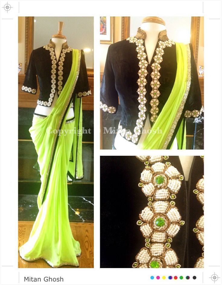 Velvet blouse with pearl embroidery with Georgette saree.