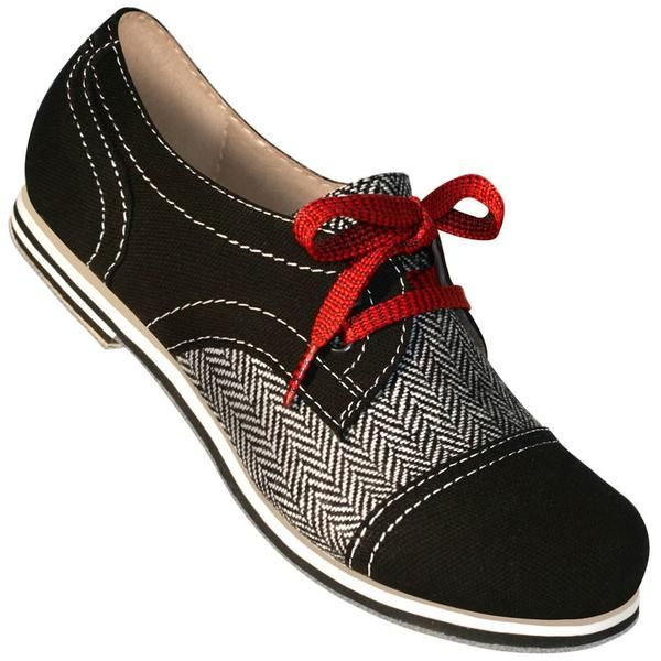 Ultra cute women's Black Canvas and Herringbone Spectator Captoe Swing Dance Shoes. Reminiscent of early 20th century women's sport shoes. Constructed in a casu