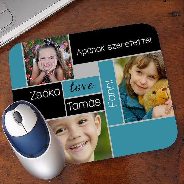 Fényképes egérpad  - 3 kép - 5 szó - Készíttessen fotókollázst egérpadra fényképeiből! A textil bevonatú, gumírozott alapú egérpadra 3 kedvenc fotót, és 5 szabadon választott feliratot lehet kérni, így tehető egyedivé ez a praktikus ajándék.  - Egyedi fényképes ajándékok webáruháza - www.kepesajandekom.hu