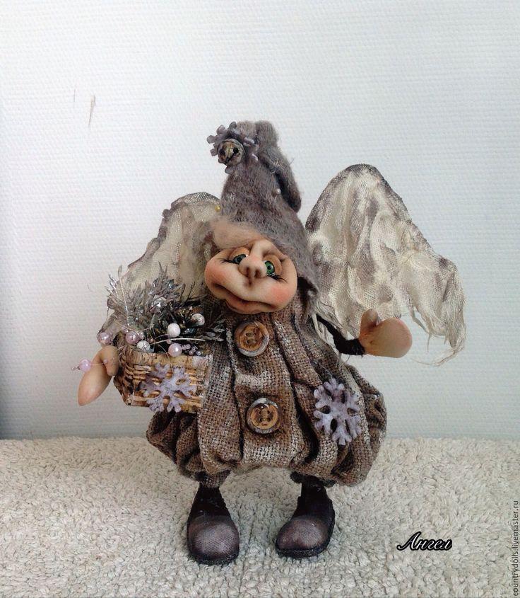 """Купить Кукла интерьерная текстильная коллекционная """"Ангел Мечтатель"""" - серый, бежевый, бежевый цвет, ангел"""