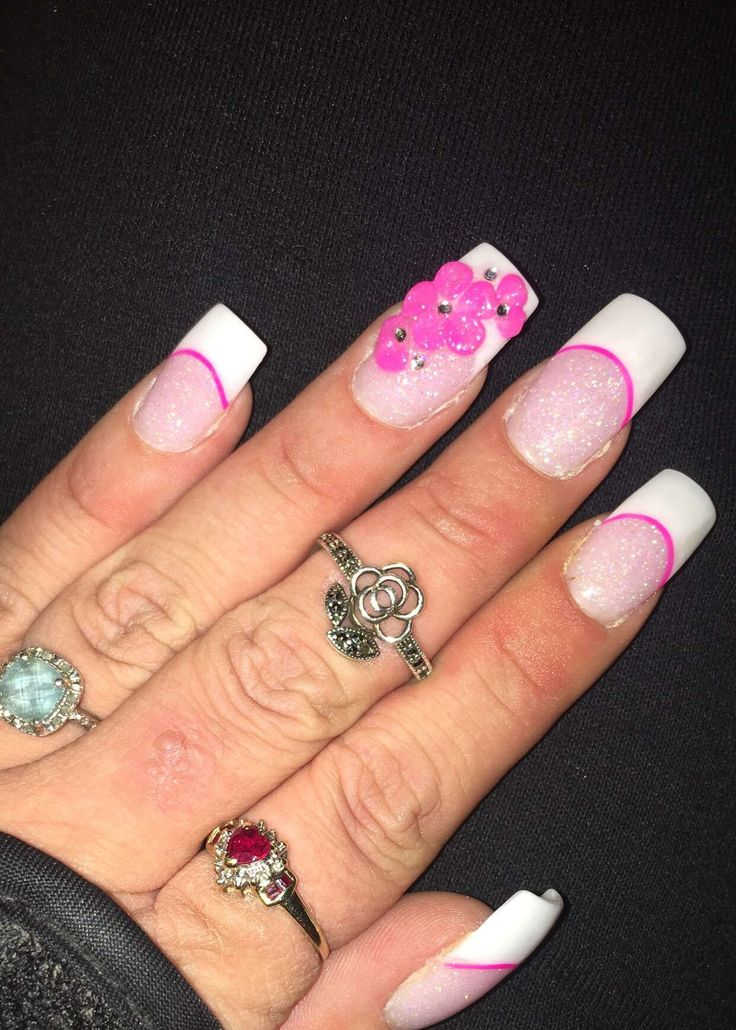 31 best my nails with design cherry nails now venus nails in pink and white anc french tip 3d flower triple flower pink nail design nail art nails prinsesfo Images